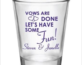 96 Personalized 1.5oz Wedding Favor Glass Shot Glasses Custom Wedding Favors