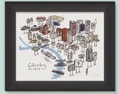 Columbus, Ohio Skyline- smalltower art print.