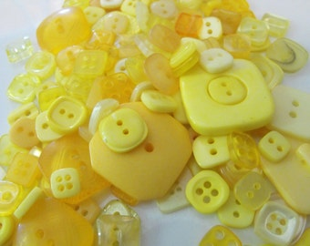 25 Yellow Square Buttons - Grab Bag