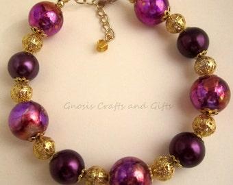 Purple bracelet, Gold Bracelet, Mottled bead bracelet, Marbled bracelet, Bold jewelry, Boho bracelet, Chunky bracelet, Fancy bracelet.