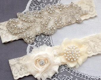Wedding Garter Belt Set Bridal Garter Set Ivory Lace Garter Belt Lace Garter Set Rhinestone Crystal Pearl Center Garter GR140LX