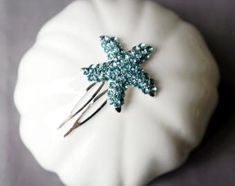 Aqua Blue Bridal Rhinestone Hair Comb Crystal Starfish Hair Comb Hair Clip Wedding Hair Accessories Beach Wedding CM098LX