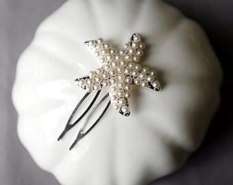 Bridal Pearl Hair Comb Pearl Starfish Hair Comb Hair Clip Wedding Hair Accessories Wedding Jewelry Beach Wedding CM099LX