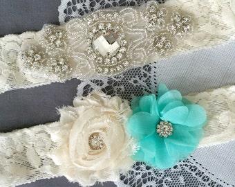 Wedding Garter Bridal Garter TEAL BLUE Garter Set Lace Garter Ivory Rhinestone Crystal Center Garter Beach Wedding GR112LX