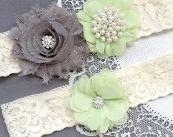 Wedding Garter Belt Set Bridal Garter Set Ivory Lace Garter Belt Mint Green Garter Set Rhinestone Crystal Pearl Garter GR191LX