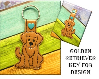 In The Hoop Golden Retriever Key Fob Embroidery Machine Design