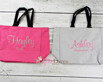 Wedding Party Gift- Bridesmaid Gift- Monogrammed Tote- Personalized Bridesmaids Tote Bag- Bridal Party Gift- Bridesmaid Bag