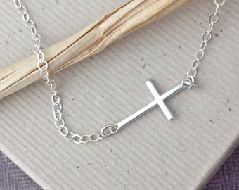 Tiny sterling silver sideways cross necklace, confirmation, goddaughter gift, first communion, religious Christian, faith jewelry, N131