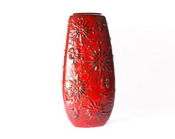 """Rare XXL Mid Century """"Kosmos"""" Floor Vase  Red - Scheurich 70s"""