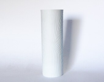 Modernist White Porcelain Bisque Wood Pattern Vase  - Hutschenreuther 70s
