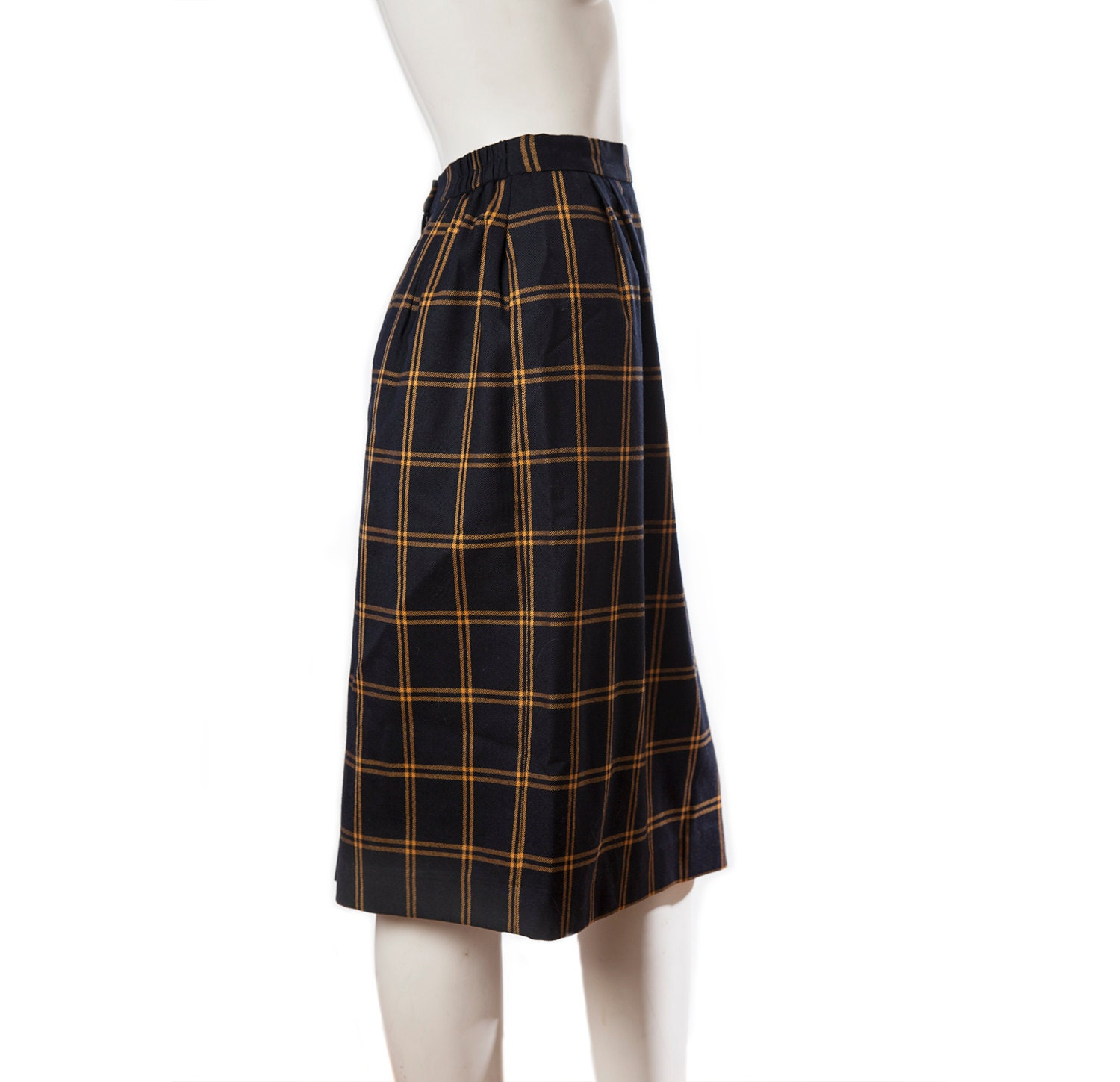 vintage plaid navy blue and gold pencil skirt by vintagefrenzy