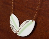Geometric Mint and Gold Necklace - Recycled China - Material and Movement