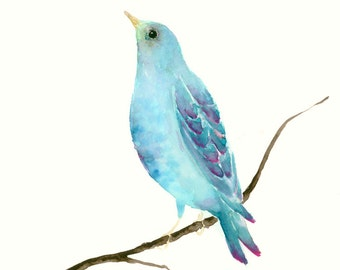 Original Watercolor Painting Turquoise Bird