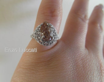 Art Deco-free form diamond-sterling silver one of a kind engagement ring-Enzo Luccati