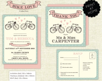 Downloadable Bike Love Wedding Stationery set including invitation, RSVP and Thank you card