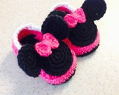 Crochet Minnie Baby Shoes Mouse Booties Infant Slippers