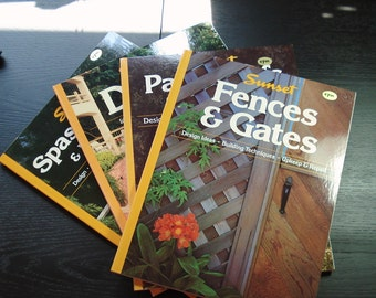 Set of Four Sunset Outdoor Building Books, Printed in 1990, How To Books, Deck,Gazebos, Patio, Fences, Hot Tub Design