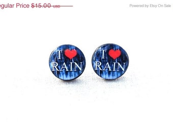 I love rain earrings- Rain stud earrings- Blue earrings- Navy blue earrings- Raining- Weather- Blue Ear Studs Ear Posts- Gift for her