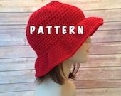 Pattern, Crochet Floppy Brim Sun Hat, Cloche Hat Crochet Pattern, EASY Crochet Bonnet Hat Pattern, Ladies Sun Hat, PDF Instant Download