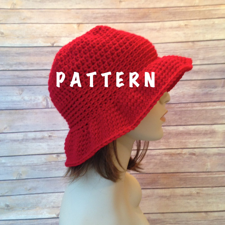 Crochet Cloche Hat Brim Pattern : Pattern Crochet Floppy Brim Sun Hat Cloche Hat Crochet