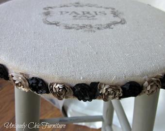 Paris Stool~Shabby Chic~White or French Linen~Grain Sack