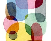 Abstract ACEO artist trading card sized miniature original painting colorful overlapping shapes