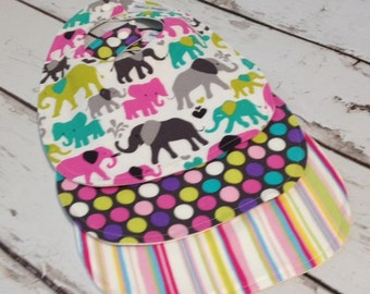 Baby Bibs - Set of 3 -Elephant, Polka Dots, and Striped for Boy or Girl