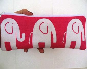 Elephants Large long zipper Pencil Case