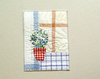 Blue flowers in red pot mixed media art, kitchen decor, red blue white, embroidered beaded flowers, gift for her, textile picture, checkered
