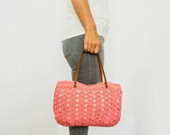 BAG // Pink Bag Winter Bag Shoulder Bag Crochet Bag Genuine Leather Brown Handles Valentine's Day