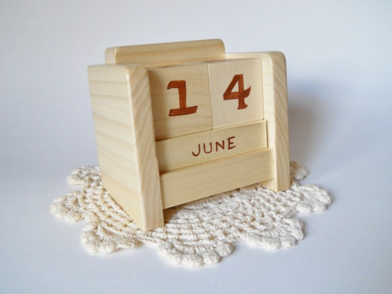 Calendar Wooden Blocks : Perpetual desk calendar wooden block natural by heartsdesire