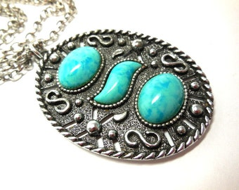 Sarah Cov Pendant Necklace Retro Silver and Faux Turquoise Mod Modern Abstract Native Boho