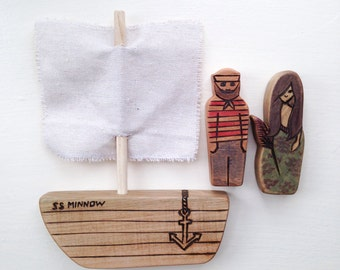 MERMAID, SAILOR, BOAT, nautical wood toys, waldorf inspired wooden toy set, maple & cherry