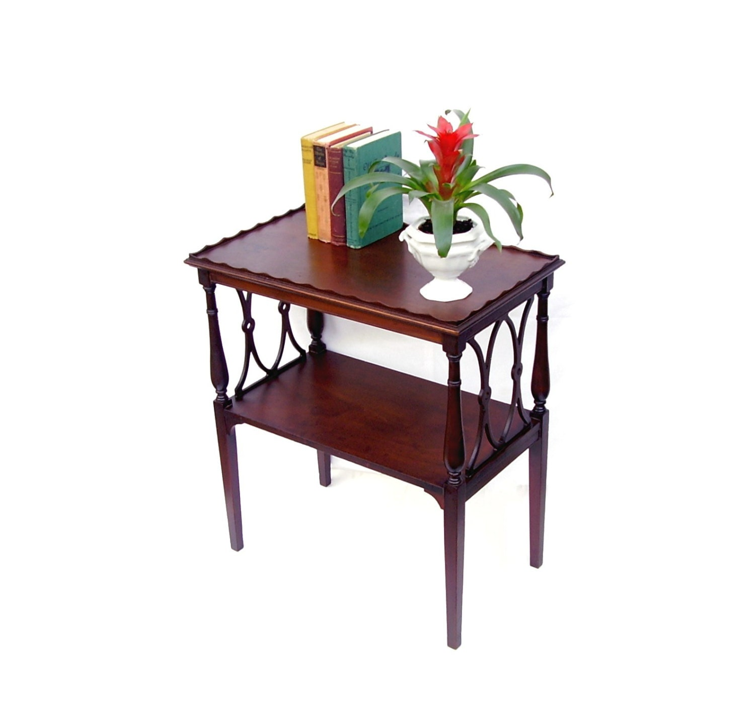Antique walnut side table wood rectangle accent with