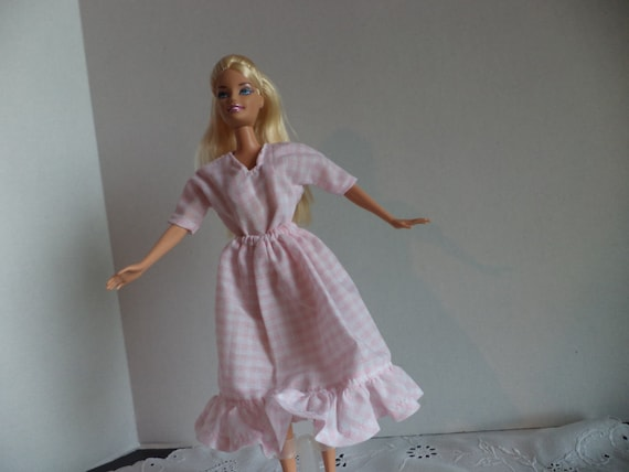 Doll clothes peasant pink gingham check blouse and ruffled skirt for