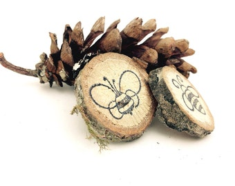 10 Bumble Bee Magnets Favors RUSTIC & WHIMSICAL Reclaimed Branch Table Markers Woodland Decor Arts Crafts Table Decor