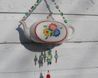 Retro 40's Vintage Sweet as Sugar Colorful Flower Teapot Windchime
