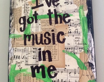 Music painting inspirational wall art lyrics song quote - original mixed media collage PRINT