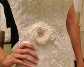 Soft Light Ivory Bridal or Maternity Lace Floral Rosette Sash