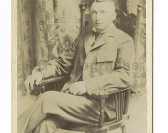 19th Century Young Gentleman - 1800s Cabinet Card Photo - Portrait w/chair, Ca
