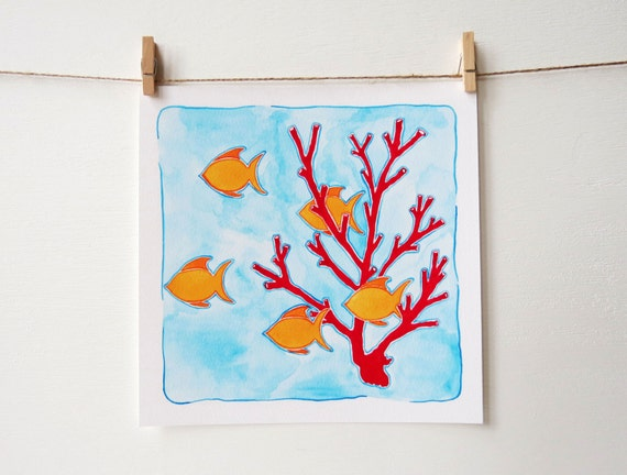 Coral Reef Decor - Beach Nursery Art - Girls Room Decor - Boys Room Decor - Coastal Art Print - Girls Nursery - Boys Nursery - Beach Print