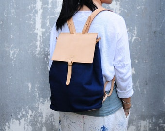 Handmade Leather And Canvas Backpack