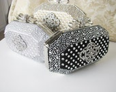 Hard Case Fabric Wedding Bag Clutch Formal Evening Bag with  Crystals and choice of colors