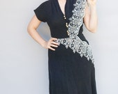 25% SALE Vintage 1940's Dress - Cross My Heart - Beautiful Charcoal Wool and Lace Forties Dress