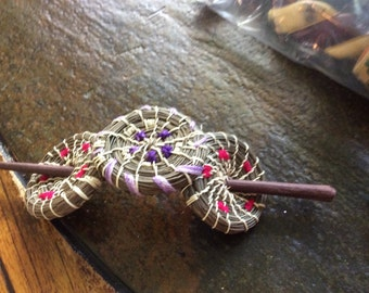 Vintage hair stick 3 circles appears to be sea grass with colored purple and red string on hair stick stunning hair stick hair accessories