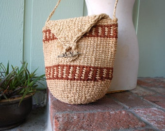 Vintage Purse Vegan Woven Twine Tweed Shoulder Bag Pouch Sack Hippie Boho Gypsy Festival Kid Natural Native Aztec Market Bag Handbag Hobo