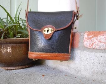 Vintage Dooney & Bourke All Weather Leather Black Brown Designer Hobo Purse Handbag Shoulder Cross Body Bag Boho Hippie Gypsy Festival Kid