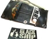 Black Vegan Bi Fold No Sew Compact Wallet: Bike Tube Rubber Faux Leather Snap Chain