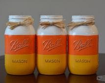 Halloween Decor, Halloween, Fall Decor, Fall, Candy Corn Mason Jar, Halloween Mason Jar, Halloween Jar, Mason Jar Decor, Candy Corn Decor