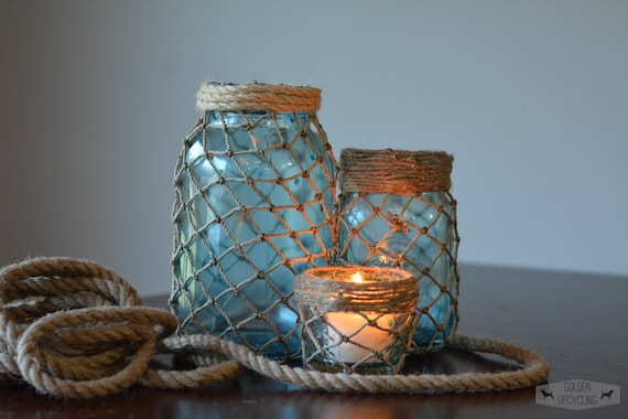Set of Three Nautical Mason Jars, Nautical Mason Jar, Fish Net Mason Jar, Beach Decor, Nautical Decor, Cottage Decor, Fish Netting